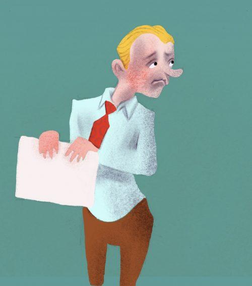 Illustration, kontor, en man med slips som håller ett dokument